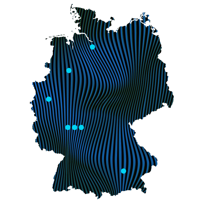 Map of Germany with bluvisio locations