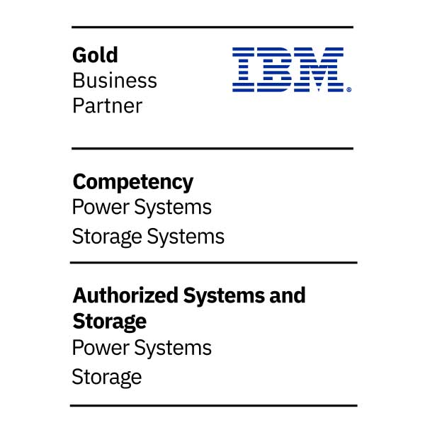 IBM Gold Business Partner logo, competency Power Systems, competency Storage Systems