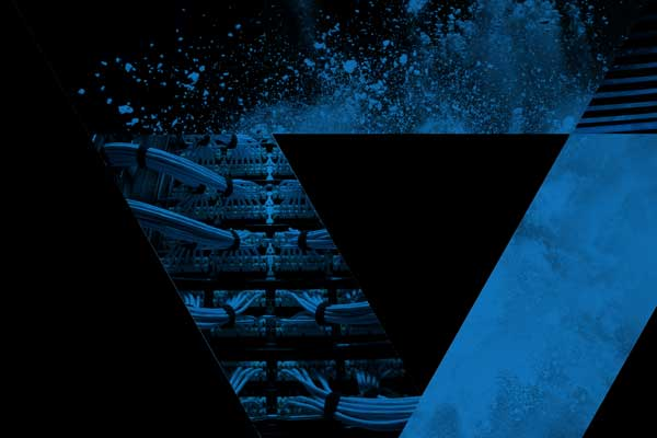 truncated blue triangle on black background with different patterns and a picture with IT solutions