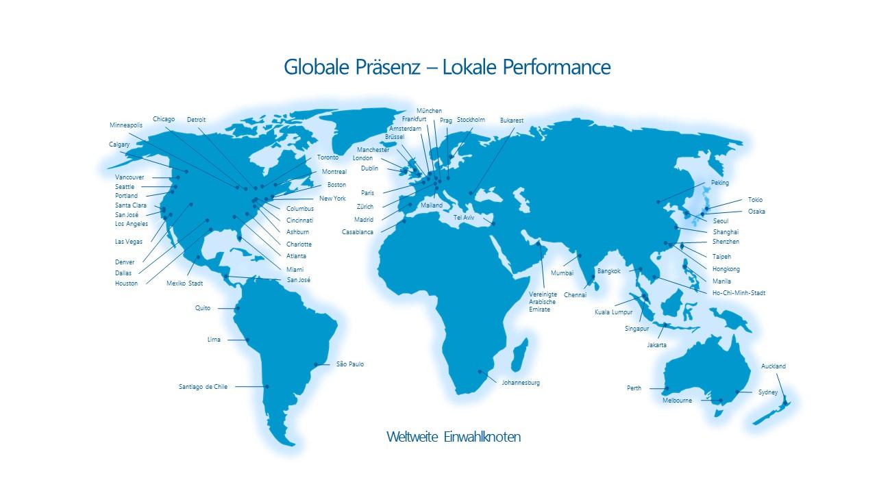 Weltkarte mit weltweit verteilten Einwahlknoten der bluvisio_connect SASE-Plattform