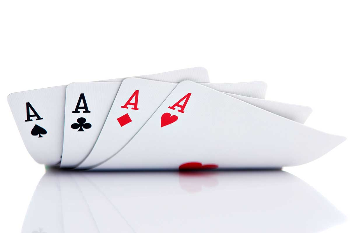 A hand of cards with 4 aces