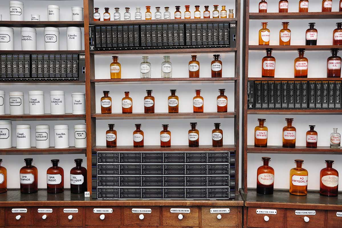 Storage systems are displayed in the board within the pharmacy